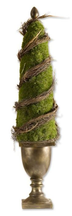 Potted Artificial Moss & Twigs in Topiary Tree