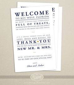 Wedding Hotel Welcome Bag Letter  Wedding by GrandDesignsbyJoanna