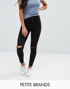 Get this New Look Petite's slim jeans now! Click for more details. Worldwide shipping. New Look Petite Disco Jeans - Black: Petite jeans by New Look Petite, Stretch denim, High-rise waist, Zip fly, Functional back pockets, Skinny fit - cut very closely to the body, Machine wash, 71% Cotton, 25% Polyester, 4% Elastane, Our model wears a UK 8/EU 36/US 4 and is 163cm/5'4 tall. High Street heroes New Look introduce New Look Petite ; a trend-led hit of fast fashion in whittled down sizes perfect…