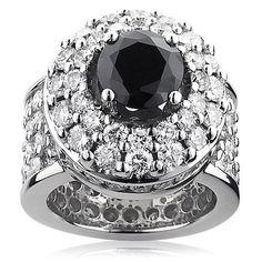 This opulent Unique Mens Gigantic White and Black Diamond Ring in gold features an astounding 10 carats of sparkling white diamonds and a marvelous 3 carat black diamond center stone. Showcasing a unique oversized design and a highly polished gold fin Mens Diamond Jewelry, Diamond Gemstone, Diamond Rings, Gemstone Rings, Bling Bling, Cheap Jewelry Online, Black Jewelry, Silver Jewelry, Men's Jewelry