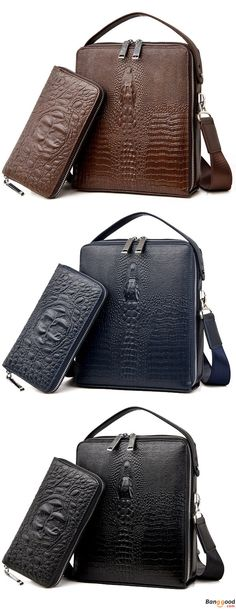 61ee5d9483c55 Men Genuine Leather Multi-function Shoulder Bag Business Crocodile Handbag  Briefcase. Pure Genuine Leather Product. Think You Gonna Like It!