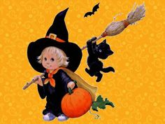 Cute witch - pumpkin, cat