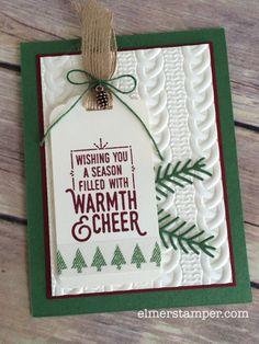 by Kristin: Wrapped in Warmth, Warmth & Cheer dsp stack & washi tape, Cable Knit embossing folder, Pretty Pines Thinlits, Mini Pinecones - all from Stampin' Up!