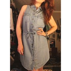 Light Wash Denim Shirt Dress Denim shirt dress in a light wash with a pull tie waist. Sleeveless, shorter length but not too short to be uncomfortable. Super soft and snap buttons the full front length. Size small, could fit a 2-8 (I'm about a 4-6 but have wider hips/small waist). Only worn once or twice so like new condition. Maurices Dresses Mini
