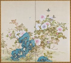 Flowers and Insects of Spring and Fall, mid 19th century. Yamamoto Baiitsu. Two-panel folding screen; ink and color on paper. MIA.