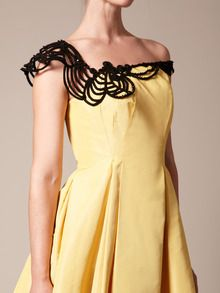 Fly like a butterfly, sting like a bee~ Silk Faille Embroidered Neck Party Dress by Carolina Herrera