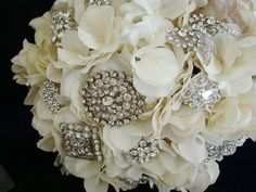 Broach Bouquet, maybe with white and coral flowers?