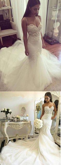 New Arrival Mermaid Straps Chapel Train Wedding Dress Bridal Dresses Wedding Gown LD685