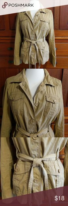 J. Crew lightweight belted jacket Tan, belted, cotton, lightweight, size med J. Crew Jackets & Coats
