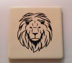 Lions face vinyl tile coaster. Tile Coasters, Lions, Digital Art, Handmade Gifts, Face, Cards, Kid Craft Gifts, Lion, Handcrafted Gifts
