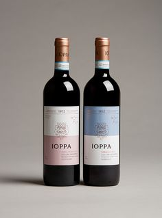 Norwegian wine importer Solera approached WORK™ to help them rebrand a range of wines from the Ioppa wineyards in Piemonte, Italy.A family run business since the Ioppa family produces high quality rosé, white and red wines. To mix old and new – he& Wine Bottle Design, Wine Label Design, Wine Bottle Labels, Liquor Bottles, Simple Packaging, Bottle Packaging, Just Wine, Wine And Beer, Peach Drinks