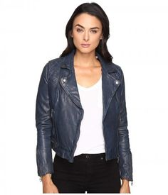 Liebeskind - Biker Leather Jacket (Indigo Blue) Women's Coat