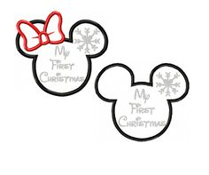 Mickey and Minnie Miss Mouse Snowflake My First Christmas Applique Digital Instant Download