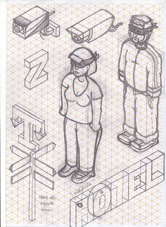Sketches on a isometric reticle paper! Dont like the lines when im drawin, but in this case the paper helped too much, without the lines would be impossible. I was 2 months just thinking about things you can find in a city, and trying to draw them. 3d Sketch, Line Sketch, Sketch Paper, Sketches, Isometric Sketch, Isometric Paper, Isometric Design, Isometric Drawing Exercises, Tattoo Coloring Book