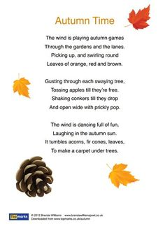 Autumn Is Here Inspirational Poem For Use In The Primary Classroom