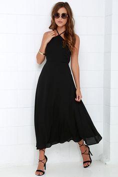 Calligraphy Class Black Halter Midi Dress at Lulus.com!