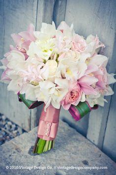 soft pastels pink white wedding bouquet flowers