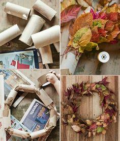 Einfacher Türkranz für den Herbst