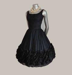A Sculptured Treasure Vintage 50's LBD Chiffon Full Skirt Dress