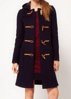 single breasted navy toggle coat