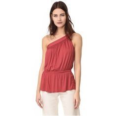 Ella Moss One Shoulder Tank ($89) ❤ liked on Polyvore featuring tops, mulberry, off one shoulder tops, rayon tops, side slit top, red top and one sleeve top