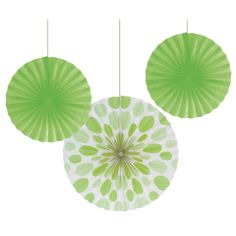 Lime Green Polka Dot Tissue Fan Set. One Lime Green Polka Dot Tissue Fan Set contains 2 Lime Green solid color fans that measure 12