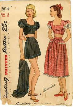 1940s Playsuit Pattern Bust 30 Simplicity 2014 Bare by CynicalGirl