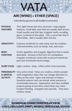 Ayurveda VATA - Learn about VATA 1 see link: www. Ayurveda VATA - Learn about VATA 1 see link: www. Ayurvedic Healing, Ayurvedic Diet, Ayurvedic Medicine, Holistic Healing, Natural Healing, Holistic Medicine, Ayurvedic Centre, Ayurvedic Therapy, Ayurveda Massage