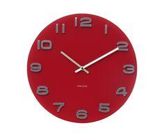 Wall clock Vintage red round glass D. 35cm, Excl. 1 AA batt., BOX32 Design. #karlssonclocks #presenttime