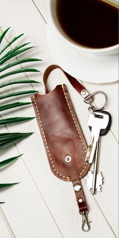 Anniversary Gift Ideas For Him Boyfriend, One Year Anniversary Gifts, Leather Key Holder, Leather Pouch, Minimalist Leather Wallet, Natural Leather, Brown Leather, Key Pouch, Key Covers