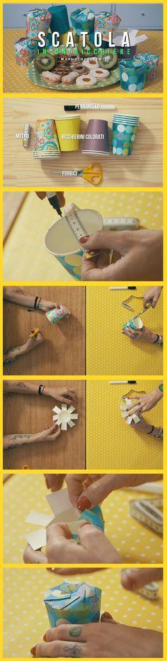 Ritagliate dei semplici bicchierini di carta, piegatelo secondo le istruzioni di Carolina e Valentina ed ecco magicamente create delle scatoline
