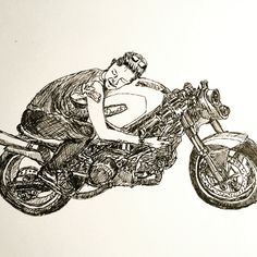 Woman with her Ducati cafe racer. Moto Lady Alicia Elfving.