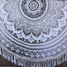 Stormy Skies Ombre Mandala Roundie With White Fringe The Fox And The