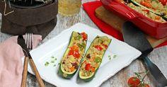 Calabacines rellenos de quinoa y verduras