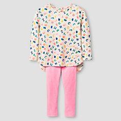 Toddler Girls' Top and Bottom Legging Set Alphabet Cat & Jack™ - Grey : Target