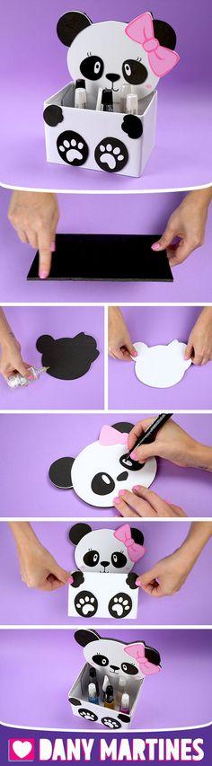 Make yourself a Panda Door Trunk, beautiful, lovely Pandinha, easy to make . Cool Paper Crafts, Diy Arts And Crafts, Crafts For Kids, Diy Karton, Diy Y Manualidades, Panda Birthday, Pot A Crayon, Panda Party, Girl Baby Shower Decorations