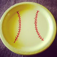 Softball plates for birthday party!  Red Sharpie on yellow plates from Target