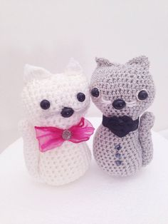adorable cats couple, perfect for a wedding decor! $37 at https://www.etsy.com/listing/209245455/cat-toy-amigurumi-cake-topper-two?ref=shop_home_active_10