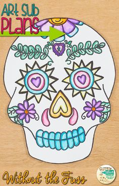 Day of the Dead art projects for kids don't have to be so time consuming. Create this awesome sugar skull in 2, 40 minute class periods. It's perfect for October bulletin boards and simple enough to leave with a substitute teacher, too. Keep your students engaged by implementing arts integration in your weekly classroom activities!   Glitter Meets Glue Designs