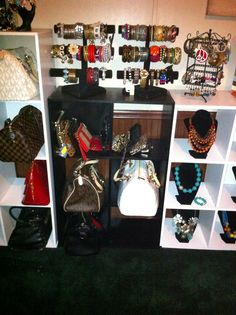 Turning a spare bedroom into a dressing room/walk in closet - Storage cubes used to display purses