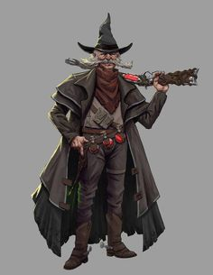 ArtStation - The Wizard of the West , Alex Gill Fantasy Character Design, Character Drawing, Character Concept, Character Inspiration, Concept Art, Dnd Characters, Fantasy Characters, Fantasy Wizard, Dnd Art