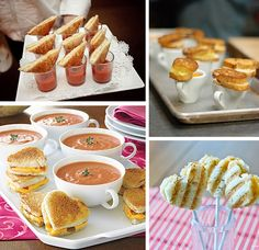 soup shooters and mini sandwiches