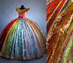 Stunningly beautiful dress is made entirely from candy wrappers! From the collection of Finnish artist Virpi Laukkanen, Vesanen. #repurposed #packaging PD