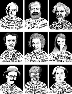 Great Photographic of famous authors and their takes on books: Bradbury, Poe, Tw… – Education Posters Enough Is Enough Quotes, High School English, School Bulletin Boards, English Bulletin Boards, Book Quotes, Reading Quotes, Writer Quotes, Wisdom Quotes, Quotes Quotes