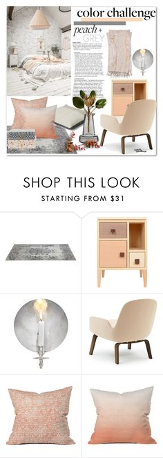 """Color Challenge: Gray & Peach"" by eyesondesign ❤ liked on Polyvore featuring interior, interiors, interior design, home, home decor, interior decorating, Heal's, Dot & Bo, House Doctor and colorchallenge"