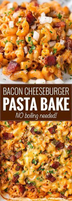 No-Boil One Pan Bacon Cheeseburger Pasta Bake