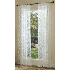 Captivating Allen Roth Bristol Sheer 84 In L Light Filtering White Rod Pocket Window  Sheer