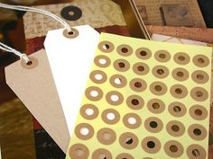 Hang Tag Donut Hole kraft Ring Label Stickers 5 Sheet (240 total) $4.50