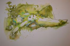 Tusche laviert auf Leinwand 80x120cm Asparagus, Vegetables, Food, Watercolor Painting, Canvas, Pictures, Studs, Essen, Vegetable Recipes