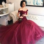 Elegant Burgundy Mermaid Prom Dress - Off Shoulder Sweep Train Lace Top